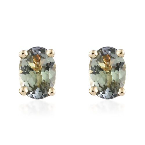 9K Yellow Gold 1 Carat AA Natural Green Tanzanite Oval Solitaire Stud Earrings with Push Back