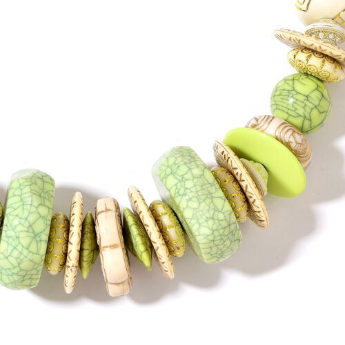 Designer Inspired- Green and Beige Colour Beads Necklace (Size 24 with 2 inch Extender) in Yellow Gold Tone