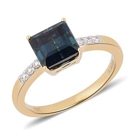ILIANA 18K Y Gold AAA Monte Belo Indicolite (Oct 2.25 Ct), Diamond (SI/G-H) Ring 2.330 Ct.