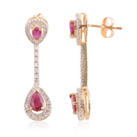 One Time Deal-14K Y Gold AAA Burmese Ruby (Pear), Diamond Earrings (with Push Back) 1.530 Ct. Dia Wt 0.33 Cts