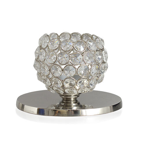 (Option 1) Home Decor - Austrian Crystal Dome Shaped T Light Holder with LED Light on a Metallic Base