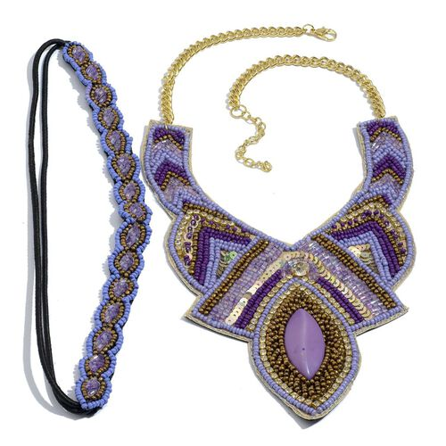 Purple and Multi Colour Seed Beaded Necklace in Gold Tone and Stretchable Headband