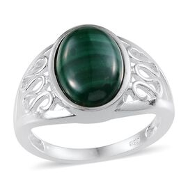 Malachite (Ovl) Solitaire Ring in Sterling Silver 5.750 Ct.