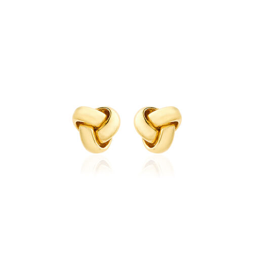 Close Out Deal 9K Y Gold Triple Knot Stud Earrings (with Push Back)
