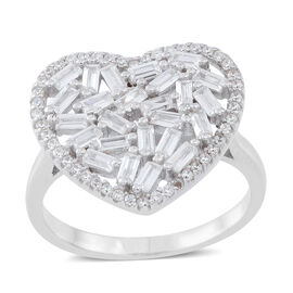ELANZA AAA Simulated White Diamond (Bgt) Heart Ring in Rhodium Plated Sterling Silver