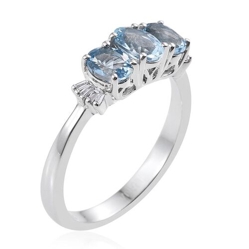 ILIANA 18K White Gold Santa Maria Aquamarine, Diamond Trilogy Ring 1.250 Ct.