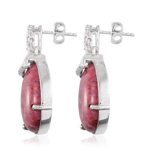 Norwegian Thulite (Pear) Earrings in Platinum Overlay Sterling Silver 28.750 Ct.