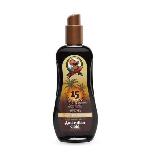 (Option 1) AUSTRALIAN GOLD- SPF 15 Spray Gel W- Bronzer 237ml (Delivery 4 to 6 Working Days)