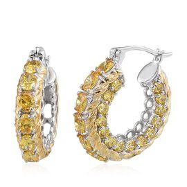 Simulated Citrine (Ovl) Hoop Earrings (with Clasp) in ION Plated Platinum Bond 11.000 Ct.