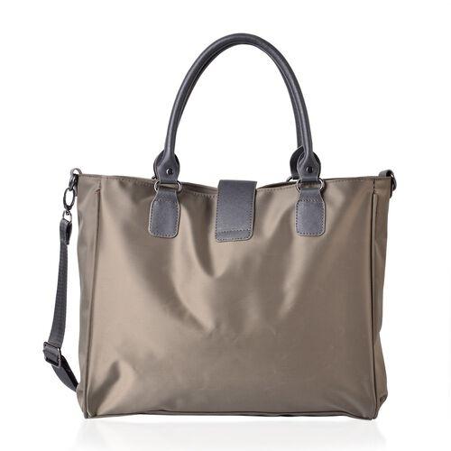 Khaki Colour Tote Bag with Adjustable Shoulder Strap (Size 34x28x12 Cm)