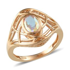 Mercury Mystic Topaz (Ovl) Solitaire Ring in 14K Gold Overlay Sterling Silver 1.500 Ct.