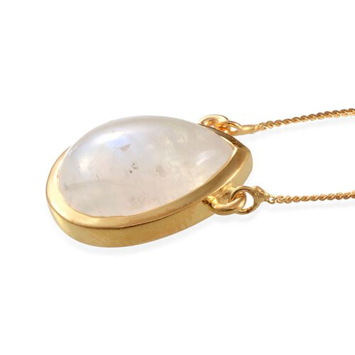 Ceylon Rainbow Moonstone (Pear) Solitaire Necklace (Size 18) in 14K Gold Overlay Sterling Silver 7.500 Ct.