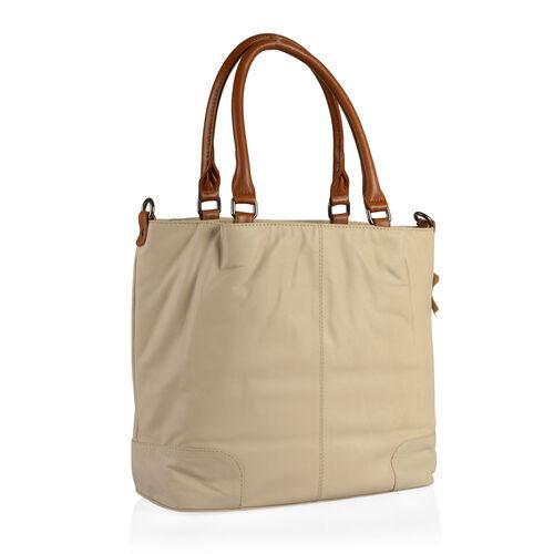 TOP Grain  Genuine Leather RFID Blocker Beige Colour Tote Bag with External Zipper Pocket (Size 40X31X15.5 Cm)
