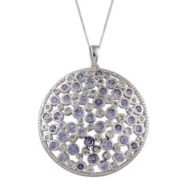 Tanzanite (Rnd), White Topaz Cluster Pendant With Chain in Platinum Overlay Sterling Silver 5.850 Ct.