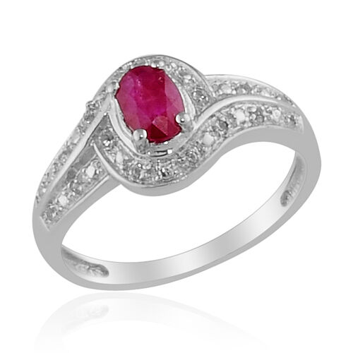 Burmese Ruby (Ovl) White Topaz Ring in Platinum Overlay Sterling Silver  0.510 Ct.