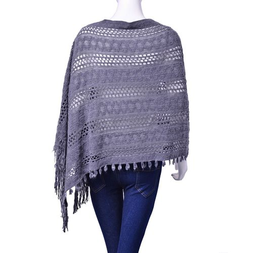 Designer Inspired Grey Colour Poncho with Tassel (Free Size)