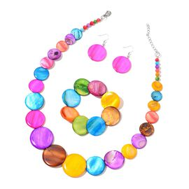 Multi Colour Shell Coin Necklace (Size 18 with 2 inch Extender), Stretchable Bracelet (Size 7) and Hook Earrings in Stainless Steel 511.000 Ct.