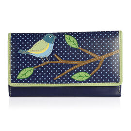 Summer New Collection RFID Genuine Leather Blue Bird Long Wallet (Size 16.5 X 10 X 3 CM)