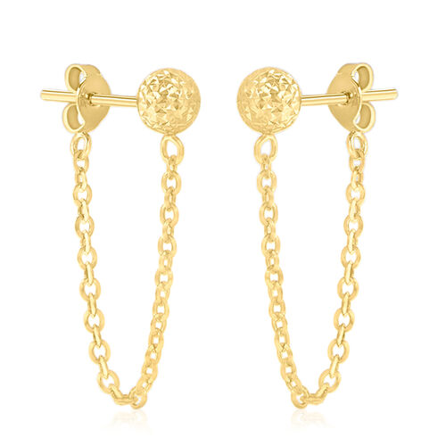 Vicenza Collection 9K Yellow Gold Draped Chain Ball Earrings (with Push Back)