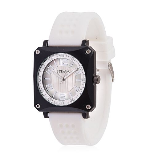 STRADA Japanese Movement Sunshine Dial Watch in Black Tone with Stainless Steel Back and White Silicone Strap