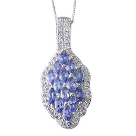 Tanzanite (Mrq), Simulated Diamond Pendant With Chain in Platinum Overlay Sterling Silver 3.500 Ct.