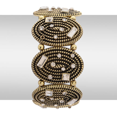 White Austrian Crystal and Simulated White Diamond Stretchable Bracelet (Size 7.5) in Gold Tone