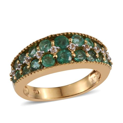 Kagem Zambian Emerald (Rnd), White Topaz Ring in 14K Gold Overlay Sterling Silver 2.000 Ct.