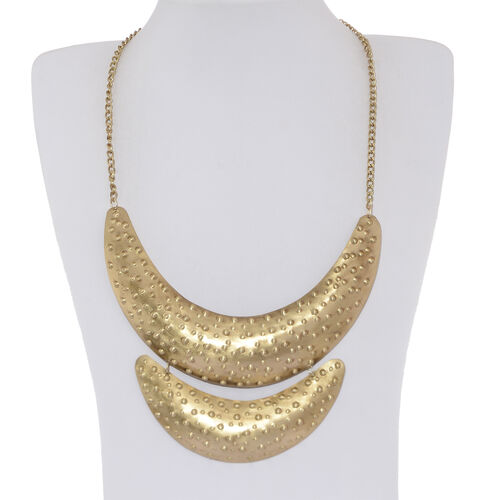 Gold Plated Embossed Pattern Fancy Necklace (Size 21)