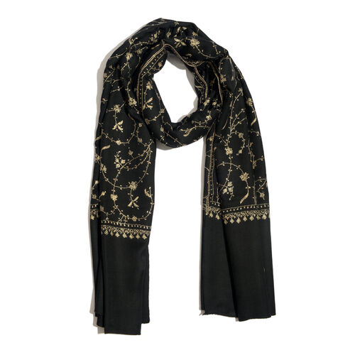 100% Merino Wool Cream Colour Flowers Embroidered Black Colour Scarf (Size 200x70 Cm)