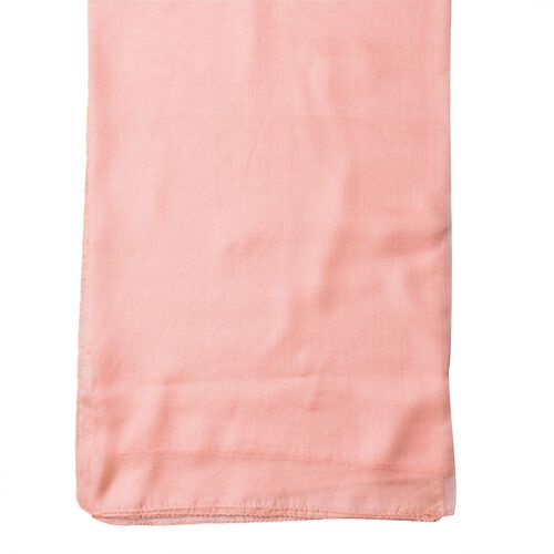 100% Mulberry Silk Salmon Colour Scarf (Size 180x110 Cm)