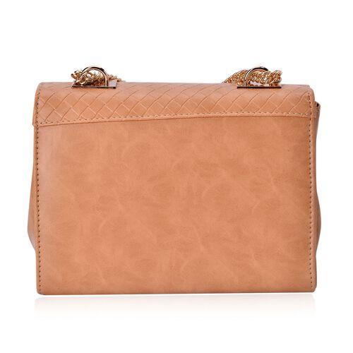 Diamond Pattern Italian Tan Colour Handbag with Chain Strap (Size 22.5x17x8.5 Cm)