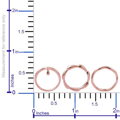 Set of 3 - LucyQ Single Drip and Continual Drip Ring in Rose Gold Overlay Sterling Silver 7.42 Gms.