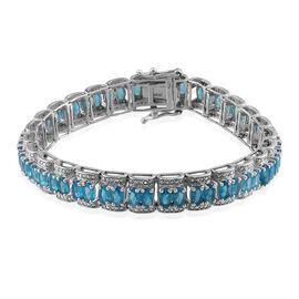 Malgache Neon Apatite (Ovl), Diamond Bracelet (Size 7) in Platinum Overlay Sterling Silver 12.020 Ct.
