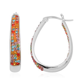 Vicenza Collection Spessartine Garnet Colour and Multi Colour In and Out Hoop Earrings (with Clasp) in Silver Bond
