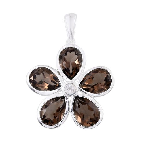 Brazilian Smoky Quartz (Pear), White Topaz Floral Pendant in Sterling Silver 8.250 Ct.