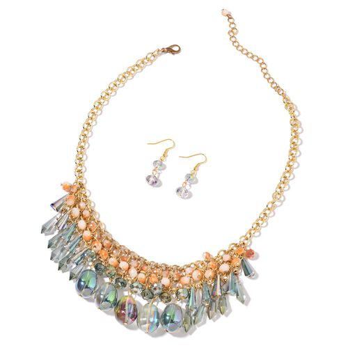 AAA Simulated Mystic Topaz, Green and Multi Colour Beads Necklace (Size 18 with 2 inch Extender) and Hook Earrings in Yellow Gold Tone