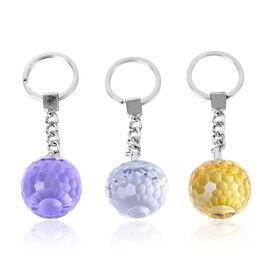 (Option 1) Set of 3 - Simulated Amethyst, Simulated Tanzanite and Simulated White Diamond Key Chain in Silver Tone