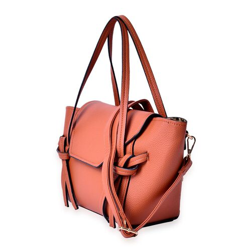 Set of 2 - Tan  Colour Large and Small Handbag with Adjustable and Removable Shoulder Strap (Size 35x22x13 Cm , 20.5x14x7 Cm)