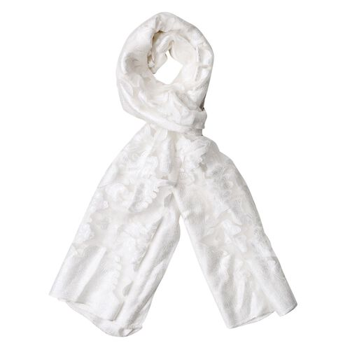 Limited Available - Designer Inspired - White Colour Scarf (Size 185x65 Cm)