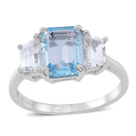 Sky Blue Topaz (Oct), White Topaz Ring in Rhodium Plated Sterling Silver 4.000 Ct.