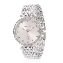 STRADA Japanese Movement White Austrian Crystal Studded Sunshine Pattern Silver Dial Water Resistant Watch in Silver Tone with Stainless Steel Back and Chain Strap