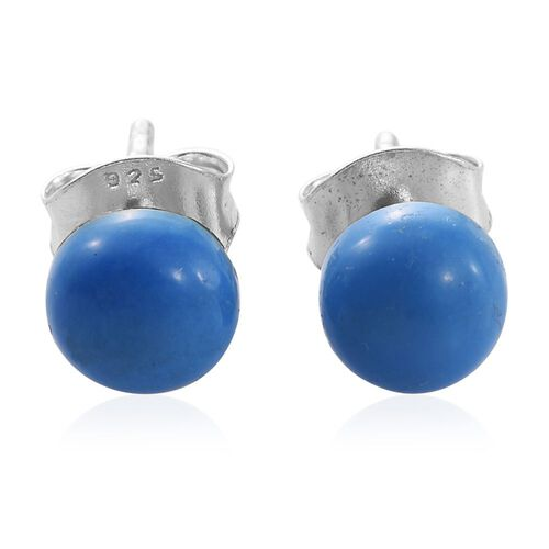 Ceruleite (Rnd) Ball Stud Earrings (with Push Back) in Platinum Overlay Sterling Silver 1.500 Ct.