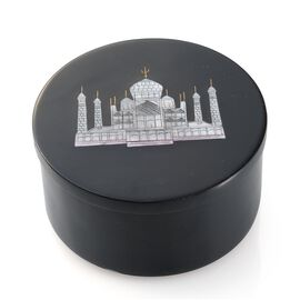 Soapstone Black Round Box with Beautiful Taj Mahal (Size 4)