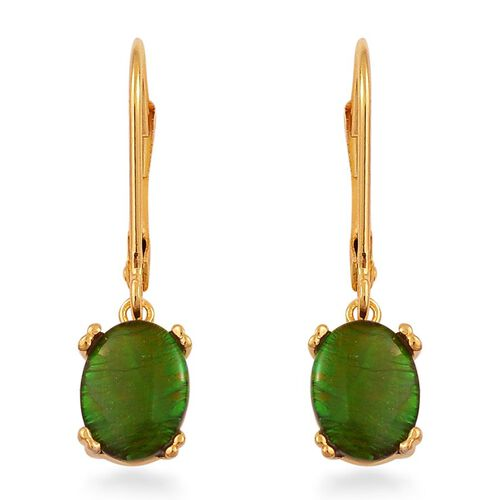 Canadian Ammolite (Ovl) Lever Back Earrings in Yellow Gold Overlay Sterling Silver 2.250 Ct.