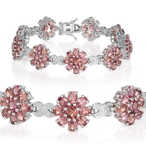 Malaya Garnet (Ovl) Floral Bracelet (Size 7.25) in Platinum Overlay Sterling Silver 19.000 Ct.