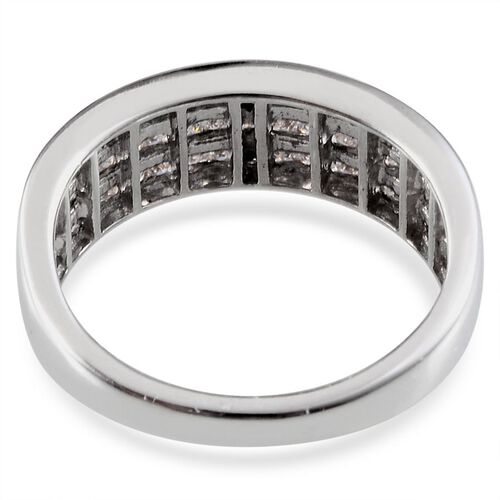 J Francis - Platinum Overlay Sterling Silver (Sqr) Ring Made With SWAROVSKI ZIRCONIA 1.122 Ct.