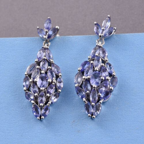Tanzanite (Ovl) Earrings (with Push Back) in Platinum Overlay Sterling Silver 3.250 Ct.