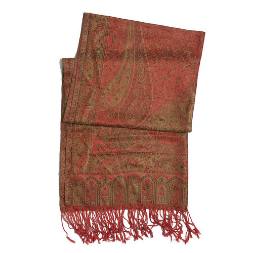SILK MARK - 100% Superfine Silk Green and Multi Colour Paisley Pattern Red Colour Jacquard Jamawar Scarf with Fringes (Size 180x70 Cm) (Weight 125 - 140 Grams)