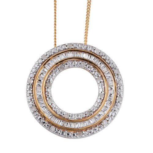 Diamond (Bgt) Circle Pendant with Chain in 14K Gold Overlay Sterling Silver 0.240 Ct.