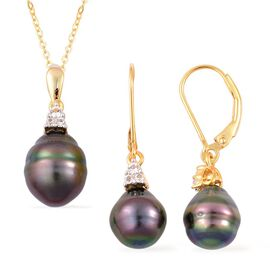 PEARL EXPRESSIONS Tahitian Pearl and White Topaz Pendant With Chain and Lever Back Earrings in 14K Gold Overlay Sterling Silver